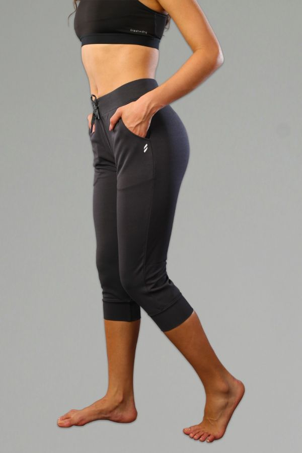 Everyday Seamed Capri Jogger for Women- Charcoal Grey