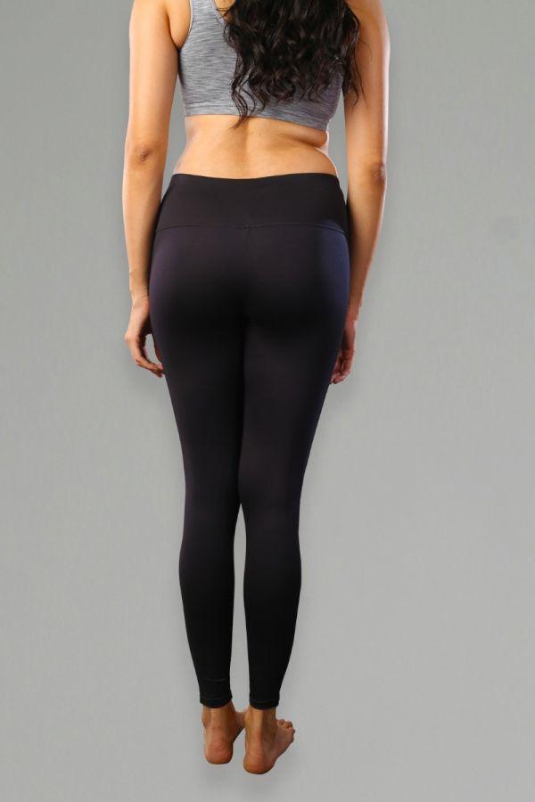 High WaistWomen's Everyday Wear Solid Tights- Black