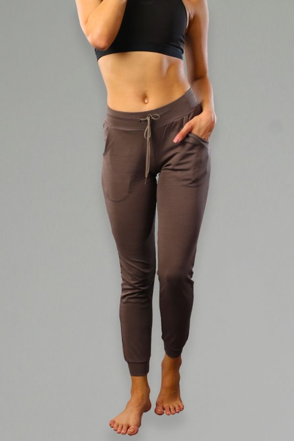 Mid-Rise Joggers with Insert Pockets- Brown