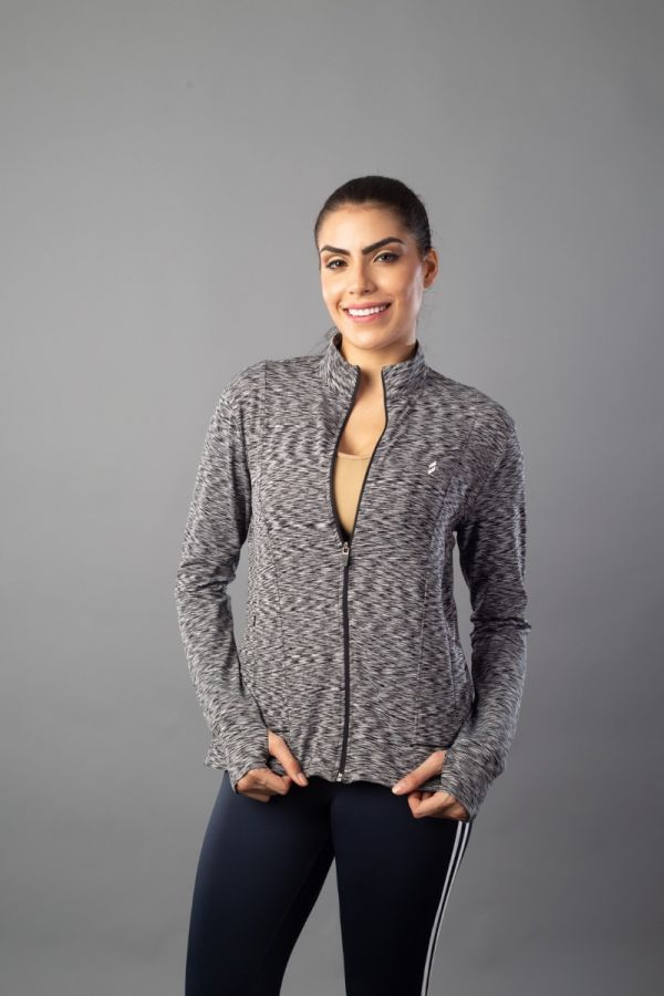 Women Running Jacket - Full Zip - Black