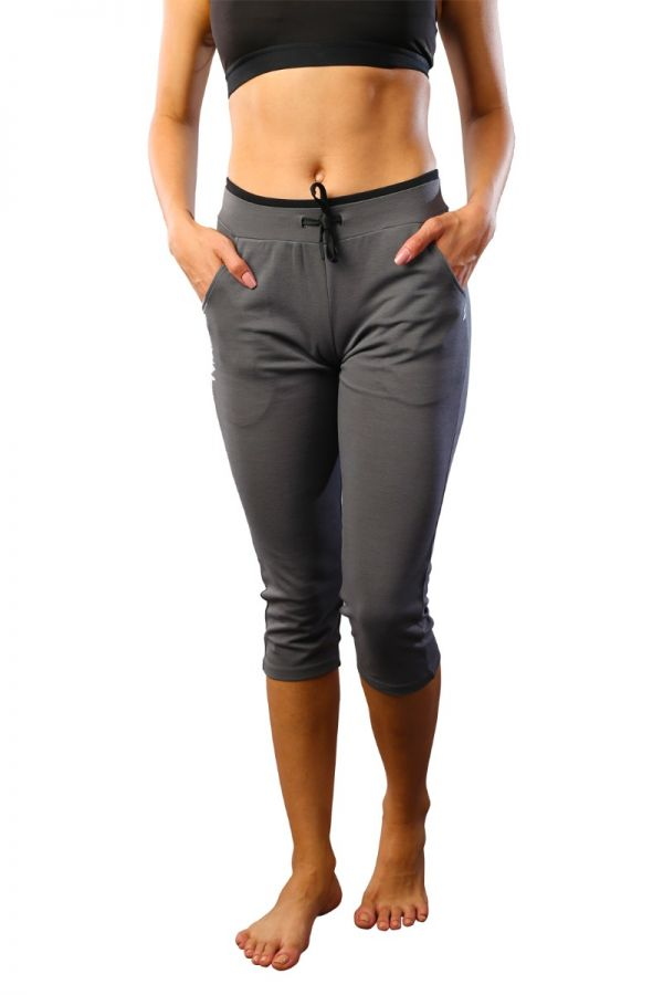 Women's cotton stretch capris Charcoal Grey