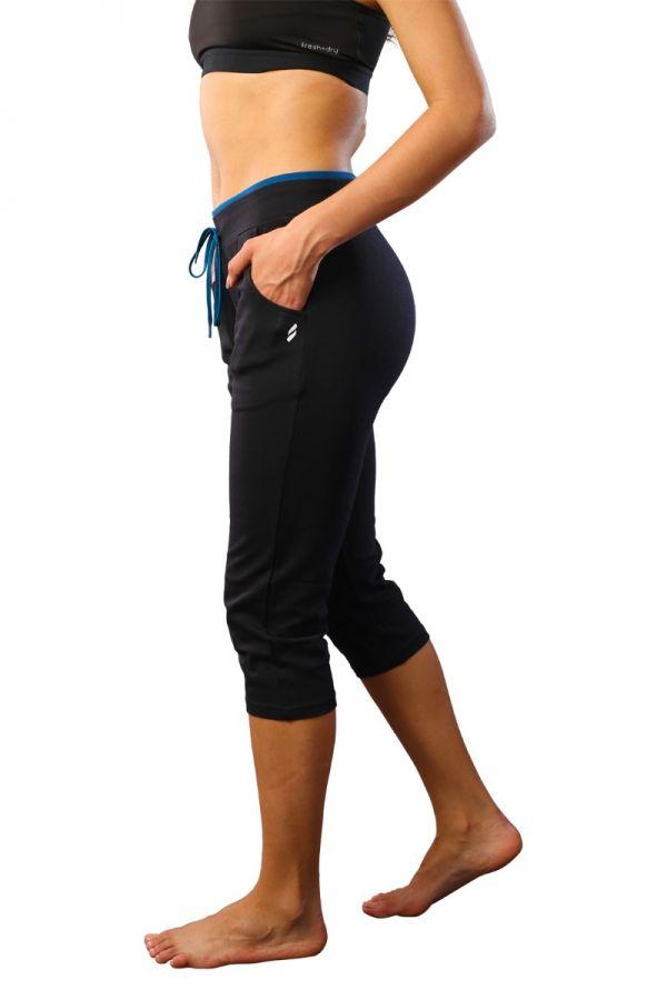 Women's cotton stretch capris BLACK