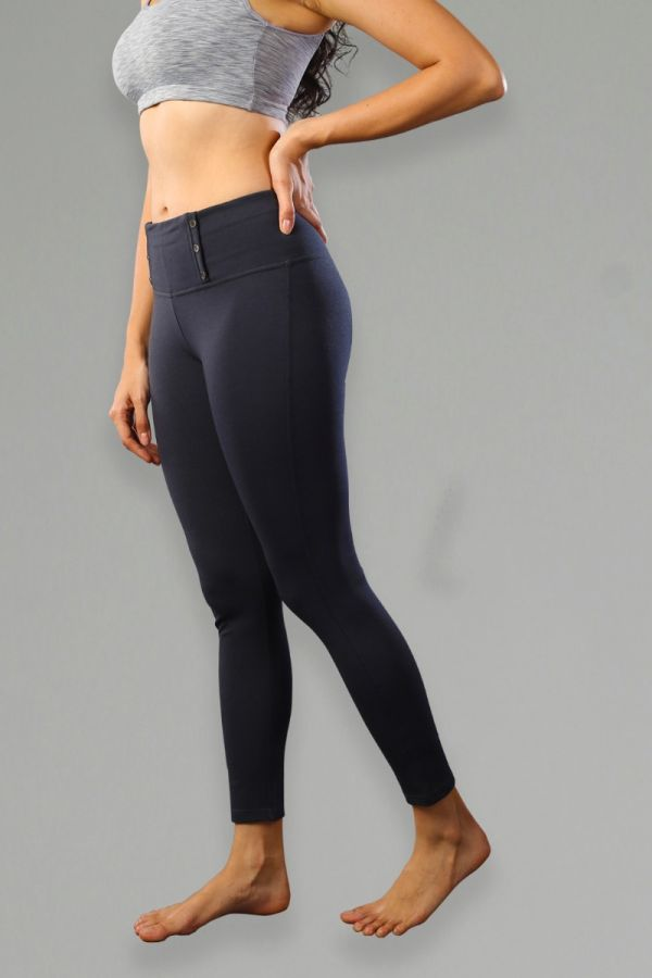High-Waisted Slim Boot-Cut Yoga Pants- Navy