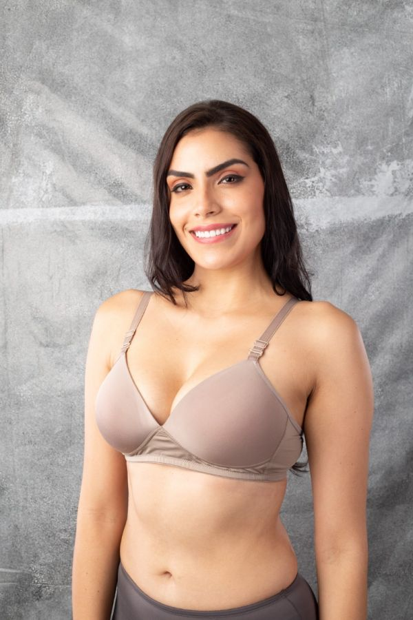 Soft Stretch Pads Bra-GREY-32-A